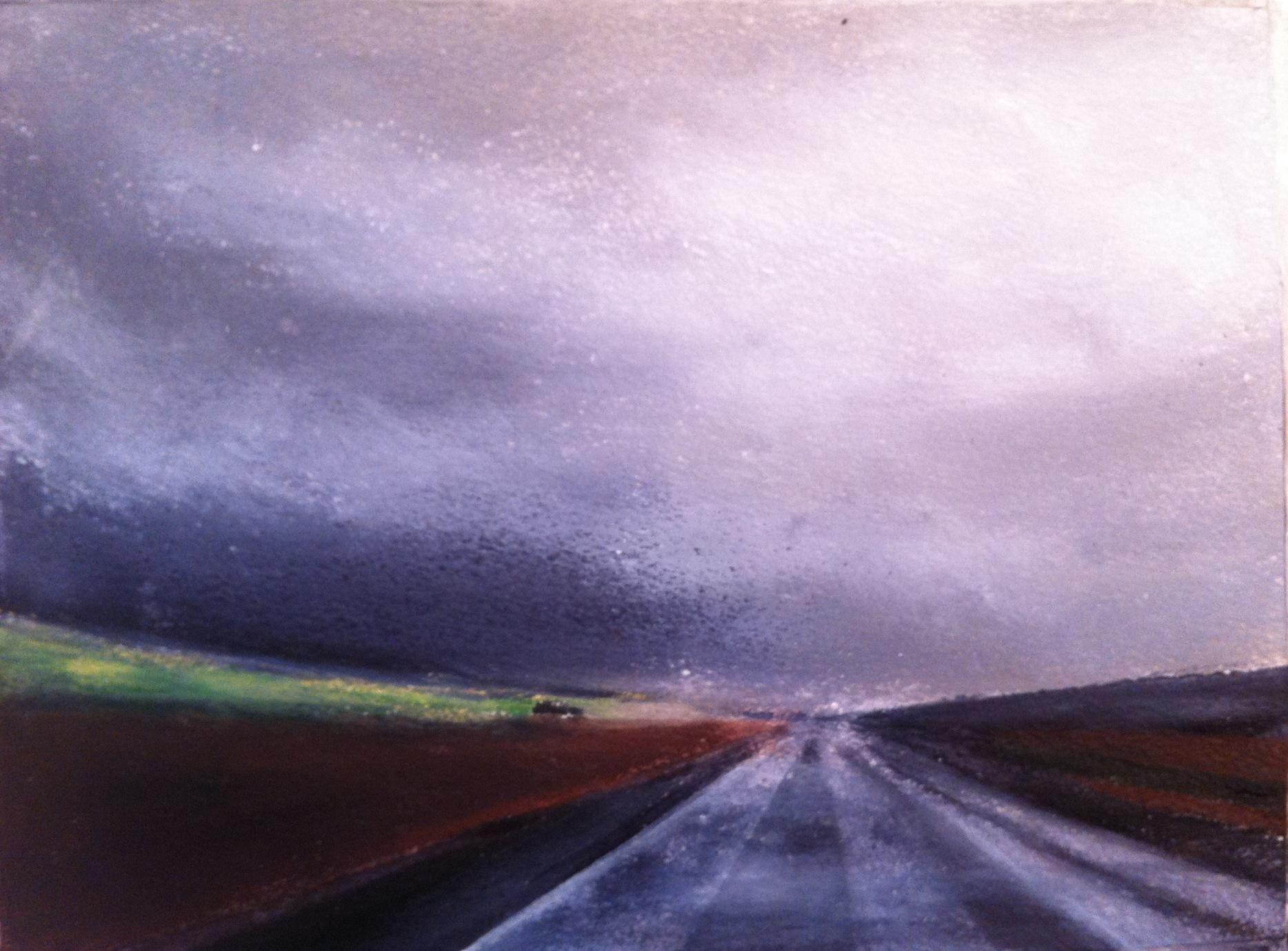 N°1015 - Pluie sur la route - Acrylique sur papier - 28 x 56 cm - 27 décembre 2013