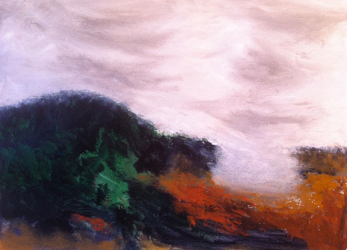 N°1240 - Par delà les nuages - Acrylique sur papier - 53,5 x 73,5 cm - 4 mars 2014