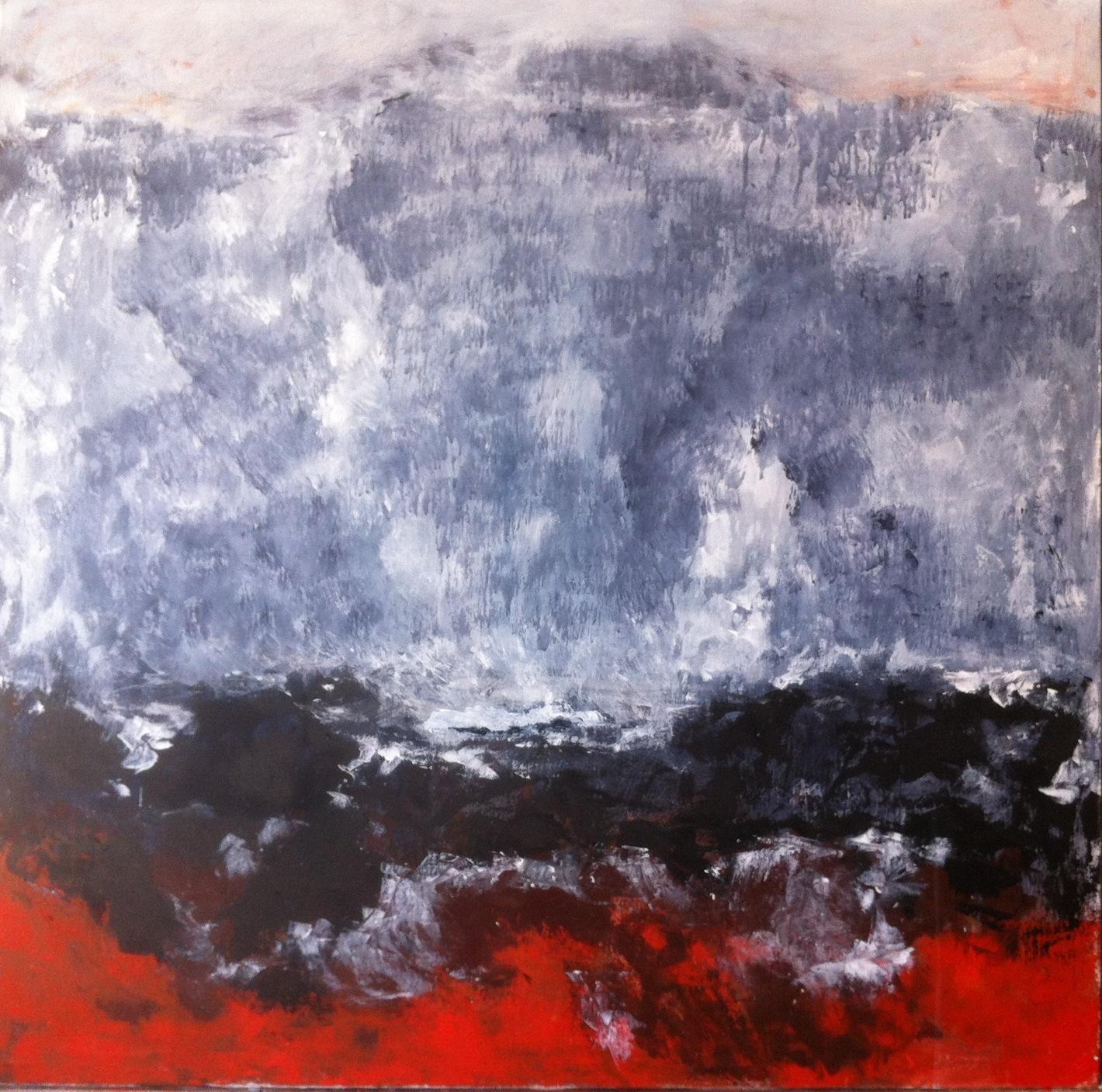 N°1258 - Par delà la montagne - Acrylique sur toile - 100 x 100 cm - 12 mars 2014