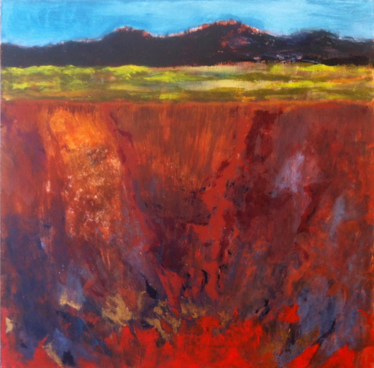 N°1276 - Voyage au centre de la terre - Acrylique sur toile - 90 x 90 cm - 18 mars 2014