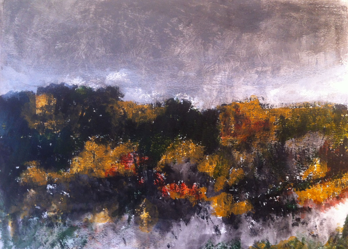 N°1321 - Garrigue - Acrylique sur papier - 53,5 x 74 cm - 7 avril 2014