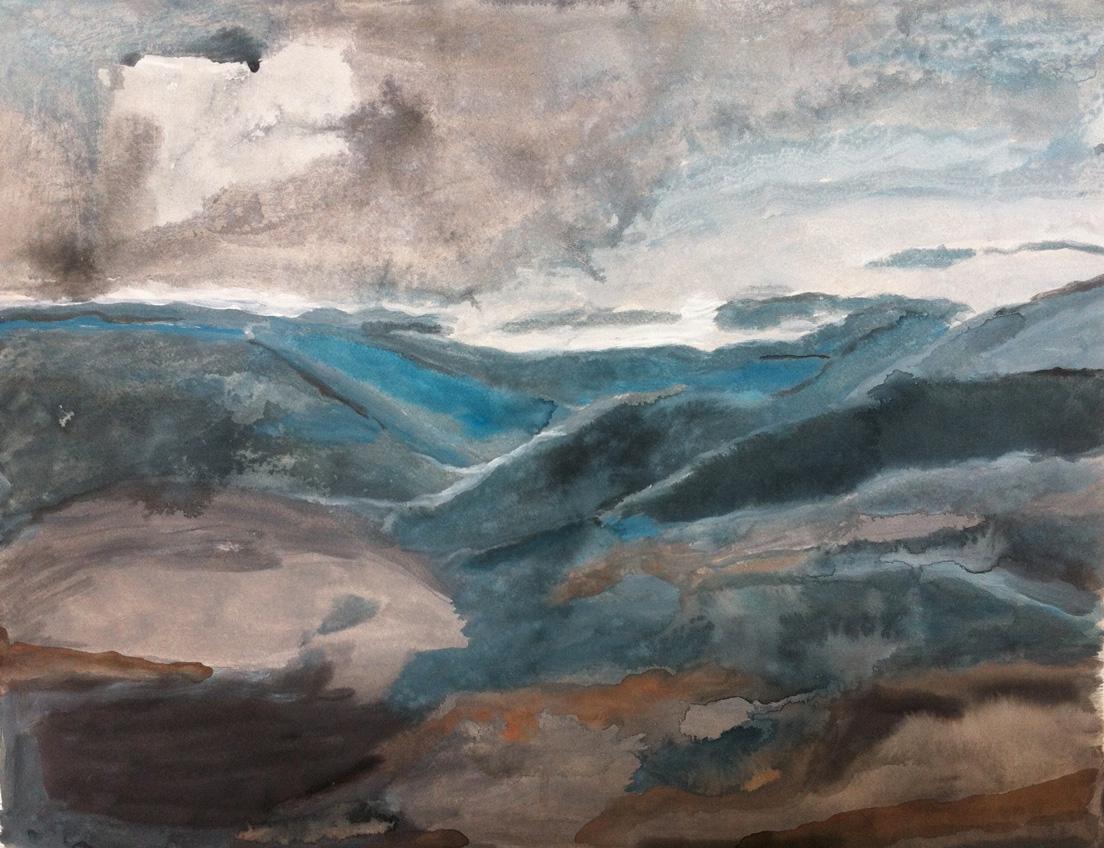 N°133 - Grandes Causses - Acrylique sur papier - 50 x 65 cm - 22 janvier 2013