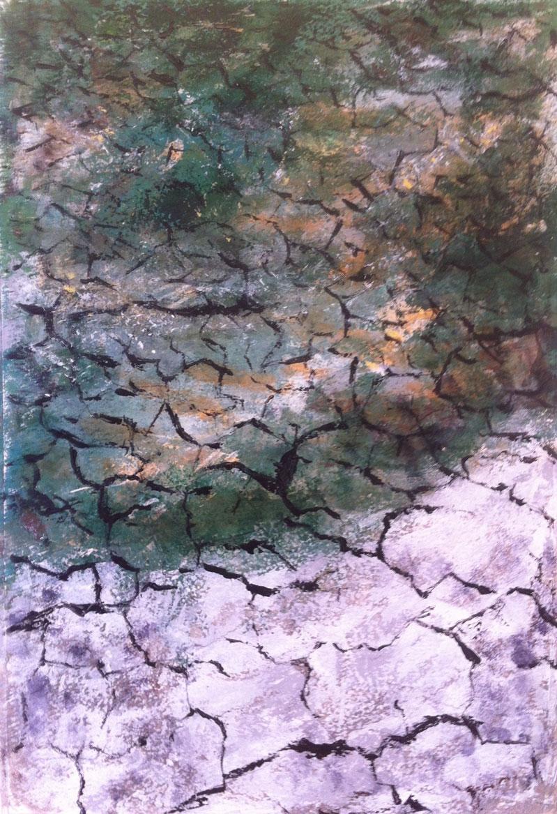 N°1447 - Terre de sel - Acrylique sur papier - 54,5 x 37 cm - 27 mai 2014