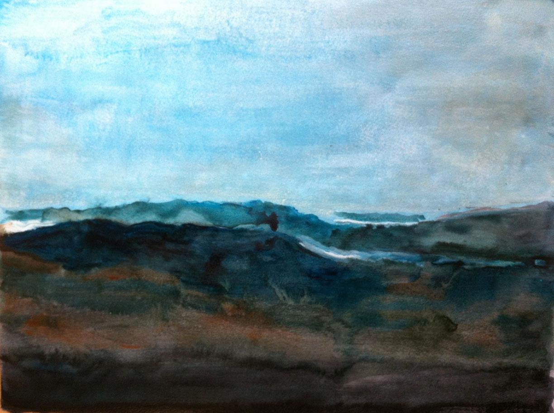 N°151 - Matin dans les Corbières - Acrylique sur papier - 46,5 x 62,5 cm - 3 février 2013