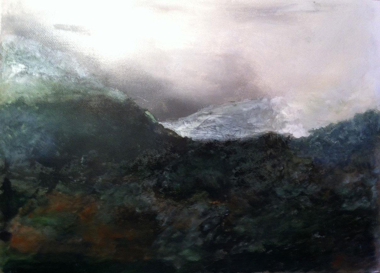 N°160 - Paysage des Albères - Acrylique sur papier - 46,5 x 62,5 cm - 6 février 2013