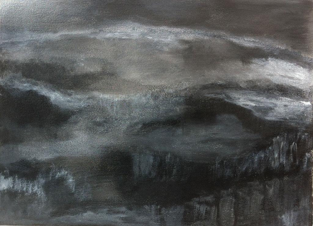 N°205 - Nocturne - Acrylique sur papier - 62,5 x 46,5 cm - 16 février 2013