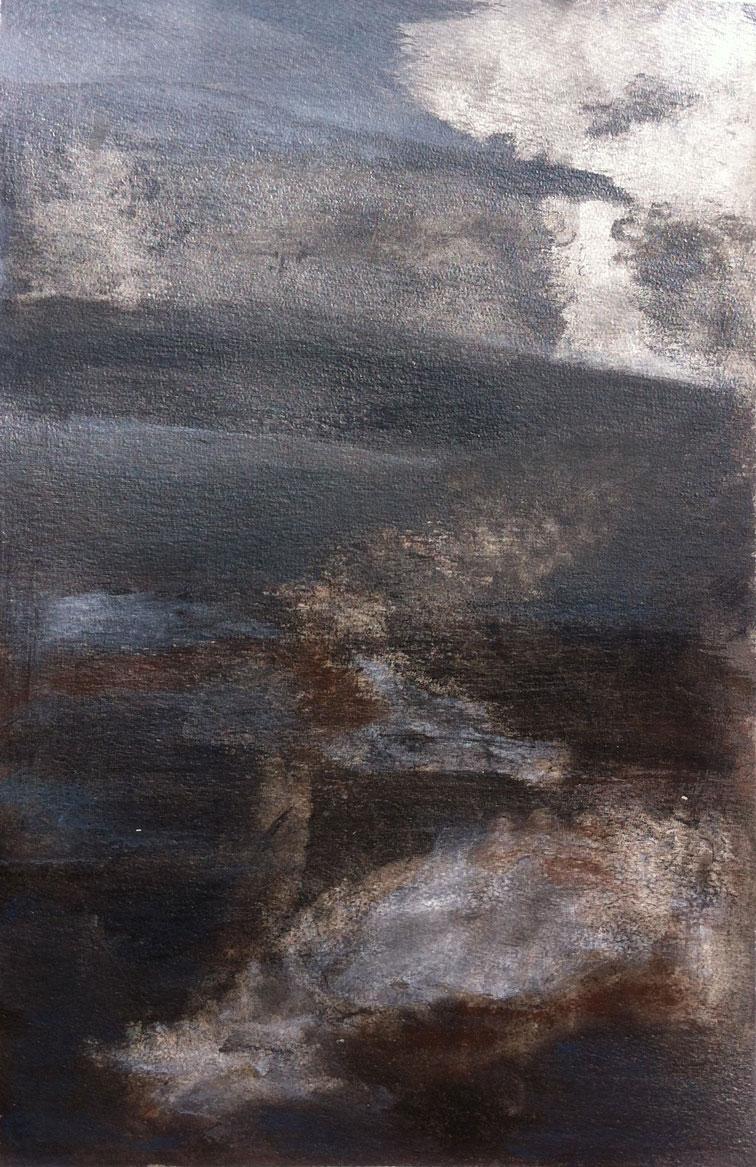 N°232 - Là-haut - Technique mixte sur papier - 52 x 33 cm - 20 février 2013
