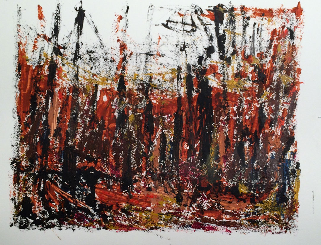 N° 2383 - Forêt - Acrylique sur papier - 50 x 65 cm - 24 avril 2016