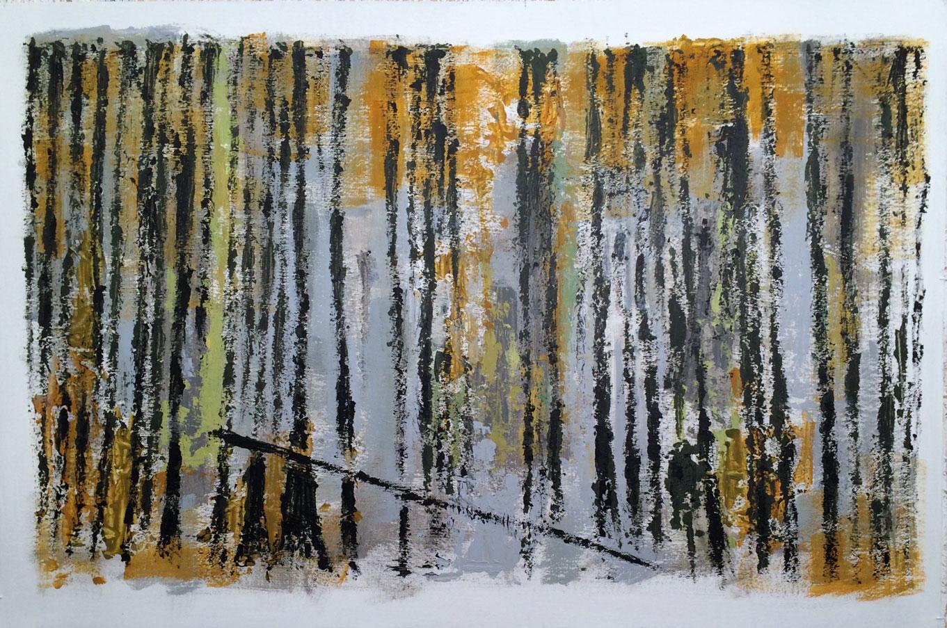 N° 2446 - Forêt / L'hiver - Acrylique et pigments sur carton - 80 x 120 cm - 4 mai 2016