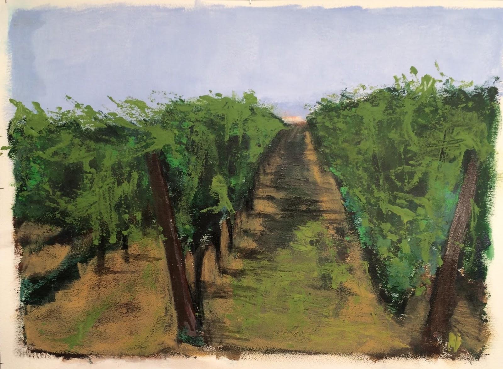 N°3013 - Vigne - Acrylique et pigments sur papier - 58 x 76 cm - 9 août 2016