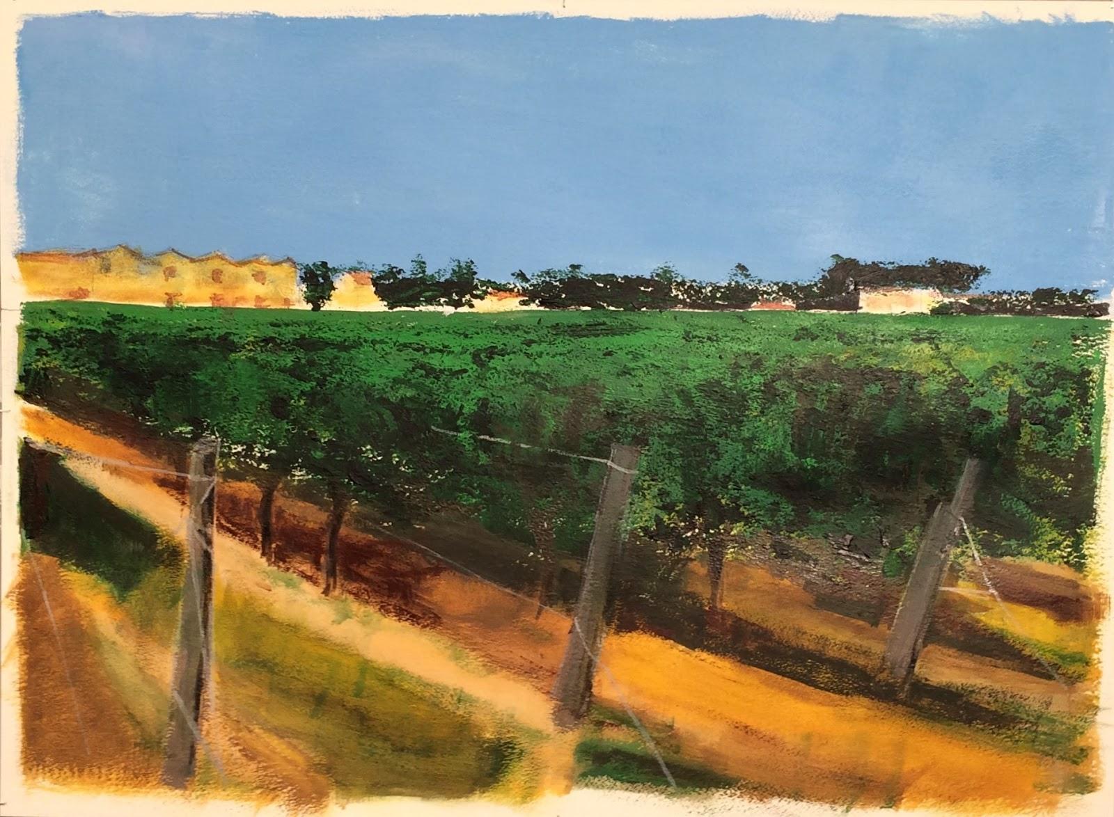 N°3022 - Vigne d'été à l'Enclos de la Croix - Acrylique et pigments sur papier - 75 x 56 cm - 10 août 2016