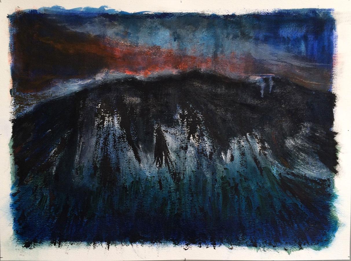 N°3049 - Une nuit sur le Mont Chauve - Acrylique et pigments sur papier - 56 x 76 cm - 20 septembre 2016
