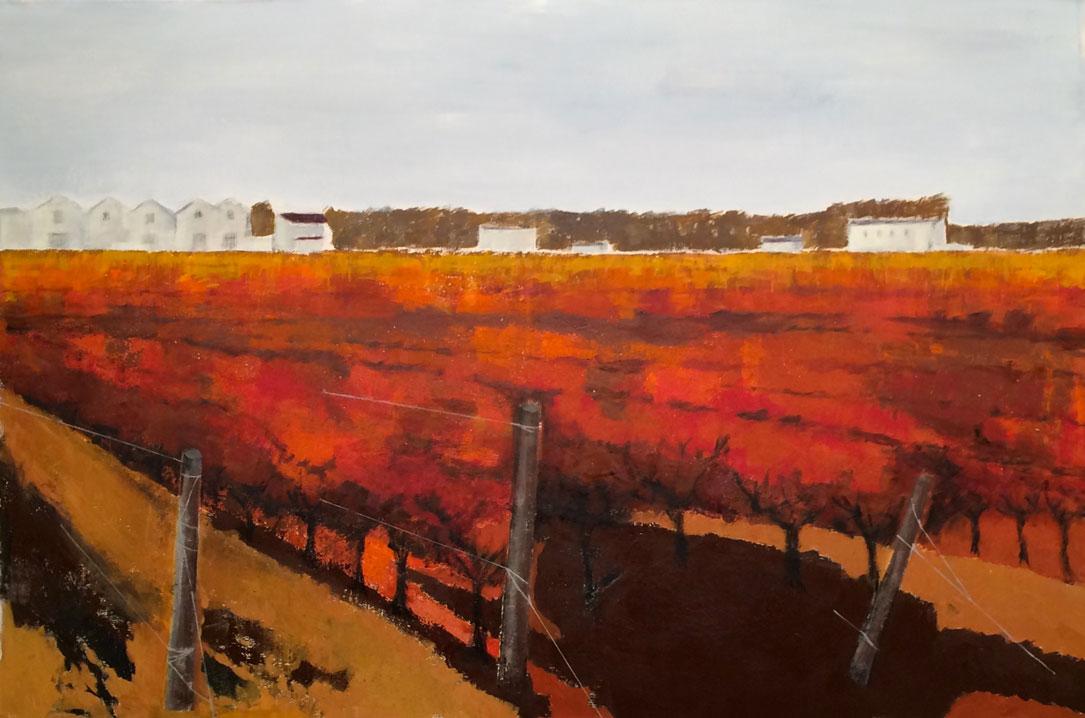 N° 3157 - Les quatre saisons à l'Enclos de la Croix / L'automne - Acrylique et pigments sur toile - 130 x 195 cm - 17 novembre 2016