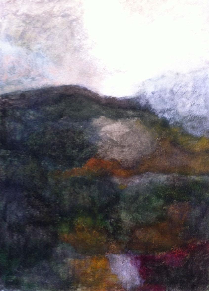 N°322 - Sur le chemin de Saint-Jacques - Acrylique sur papier - 56 x 76 cm - 31 mars 2013