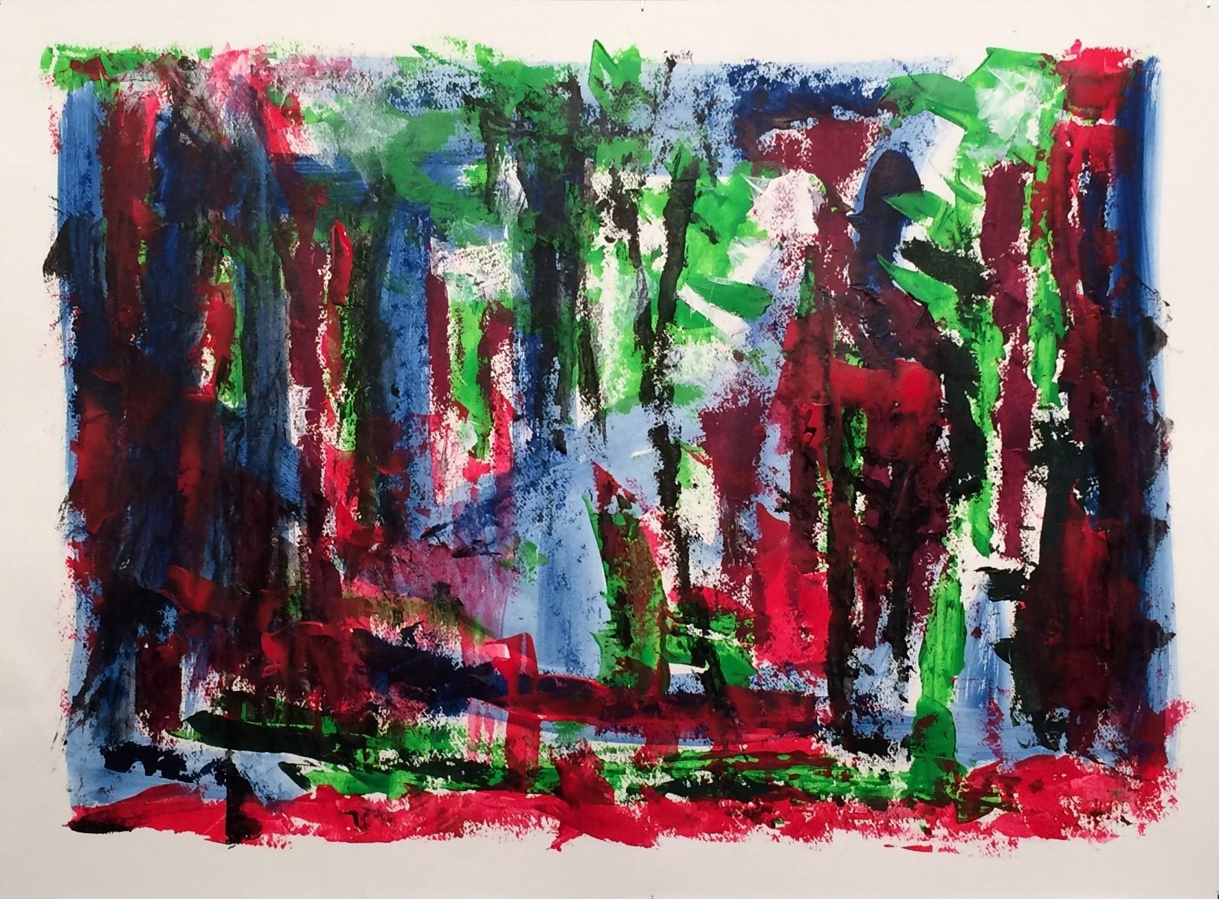 N°3265 - Forêt - Acrylique sur papier - 55 x 75 cm - 13 avril 2017