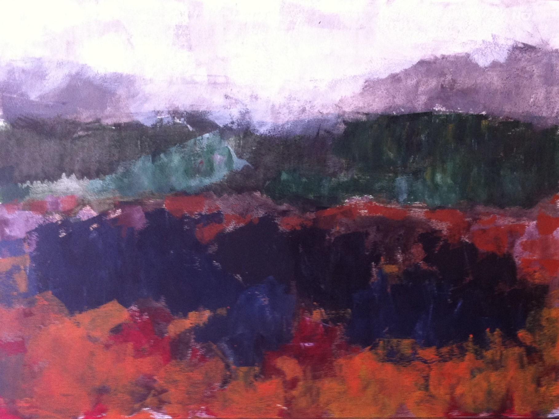 N°511 - Forêt flamboyante - Acrylique sur papier - 67 x 76 cm - 22 juillet 2013