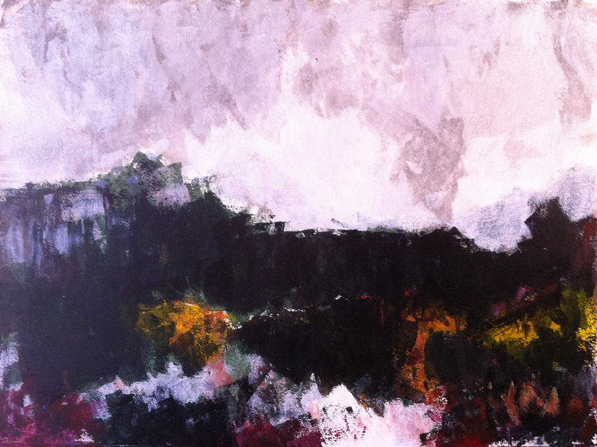 N°520 - Forêt d'émeraude - Acrylique sur papier - 65 x 76 cm - 22 juillet 2013