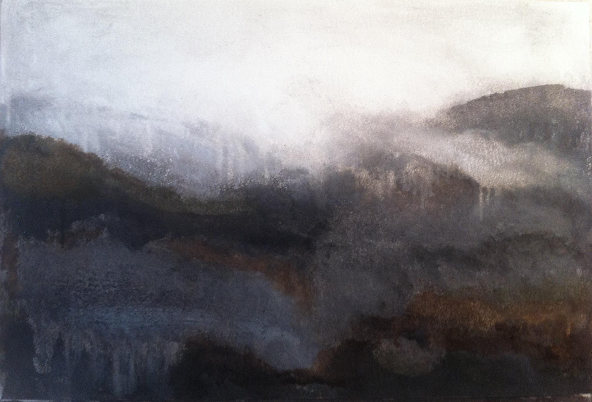 N°853 - Brume dans les Albères - Acrylique sur papier - 38 x 56,5 cm - 3 décembre 2013