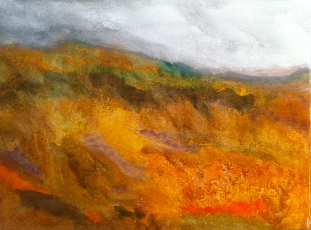 N°862 - Paysage d'automne - Acrylique sur papier - 56 x 76 cm - 4 décembre 2013