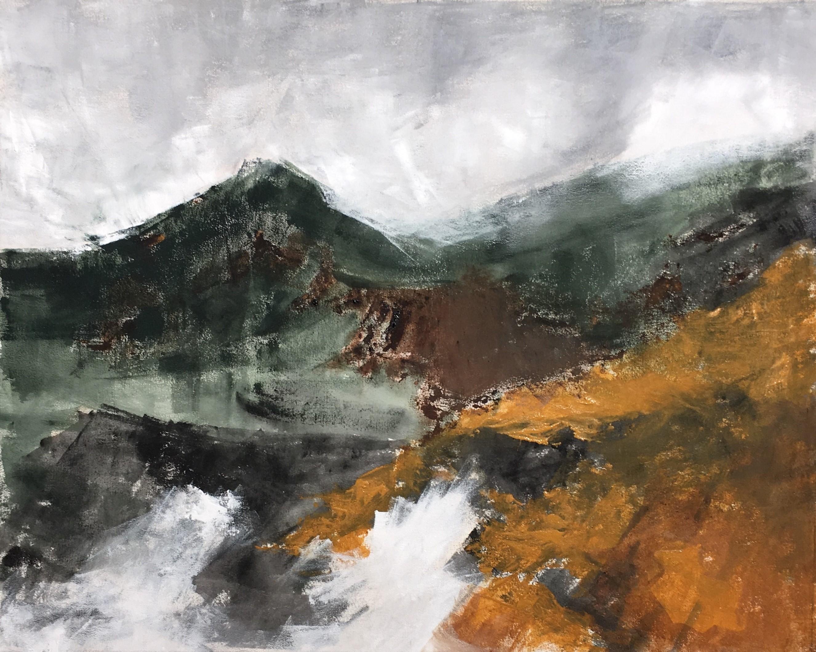 N° 8017 - Paysage - Acrylique, pigments et brou de noix sur toile - 73 x 92 cm - 22 avril 2020