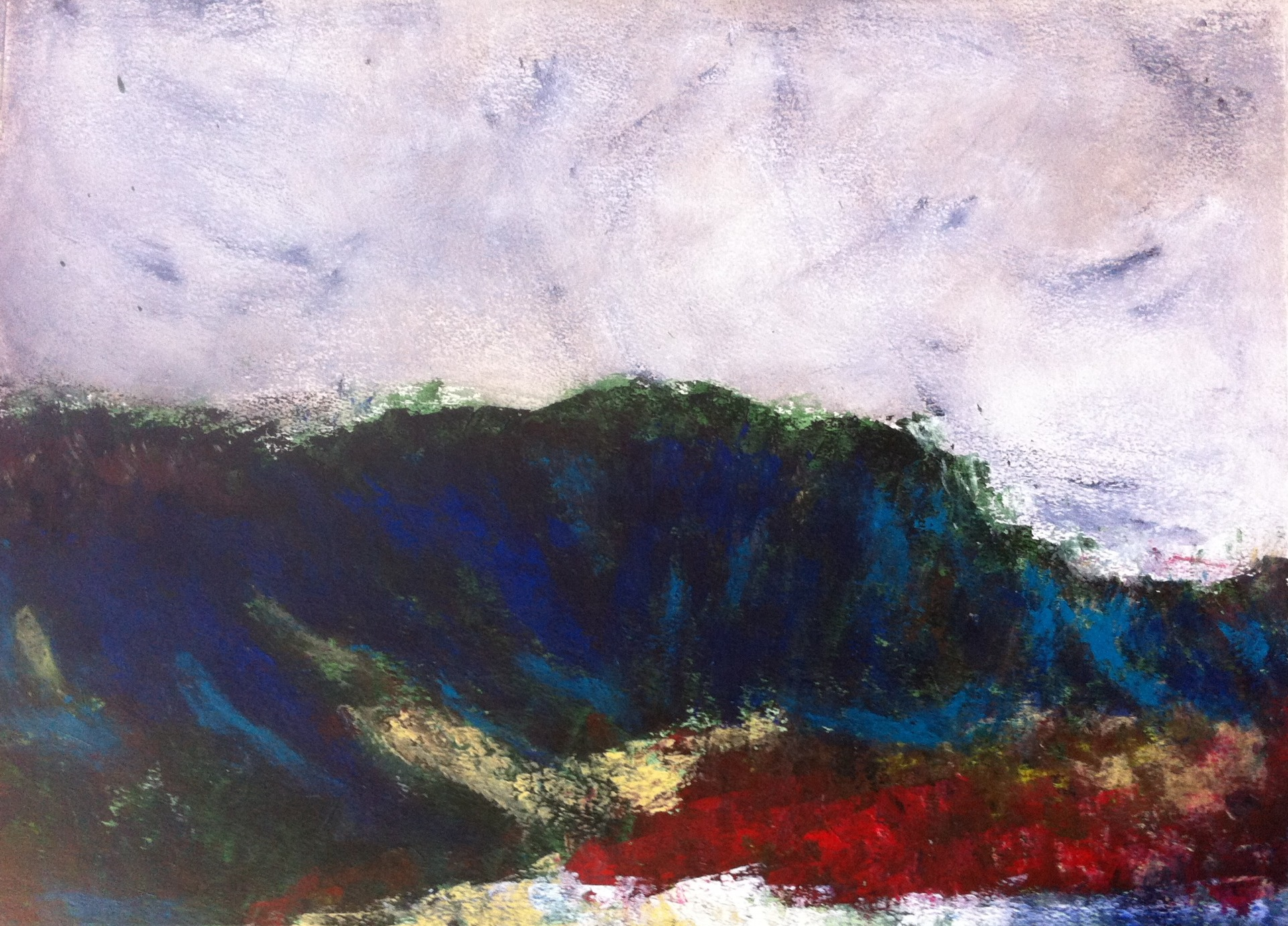 N° 763 - Blue mountain - Acrylique sur papier - 53,5 x 73,5 cm - 29 octobre 2013