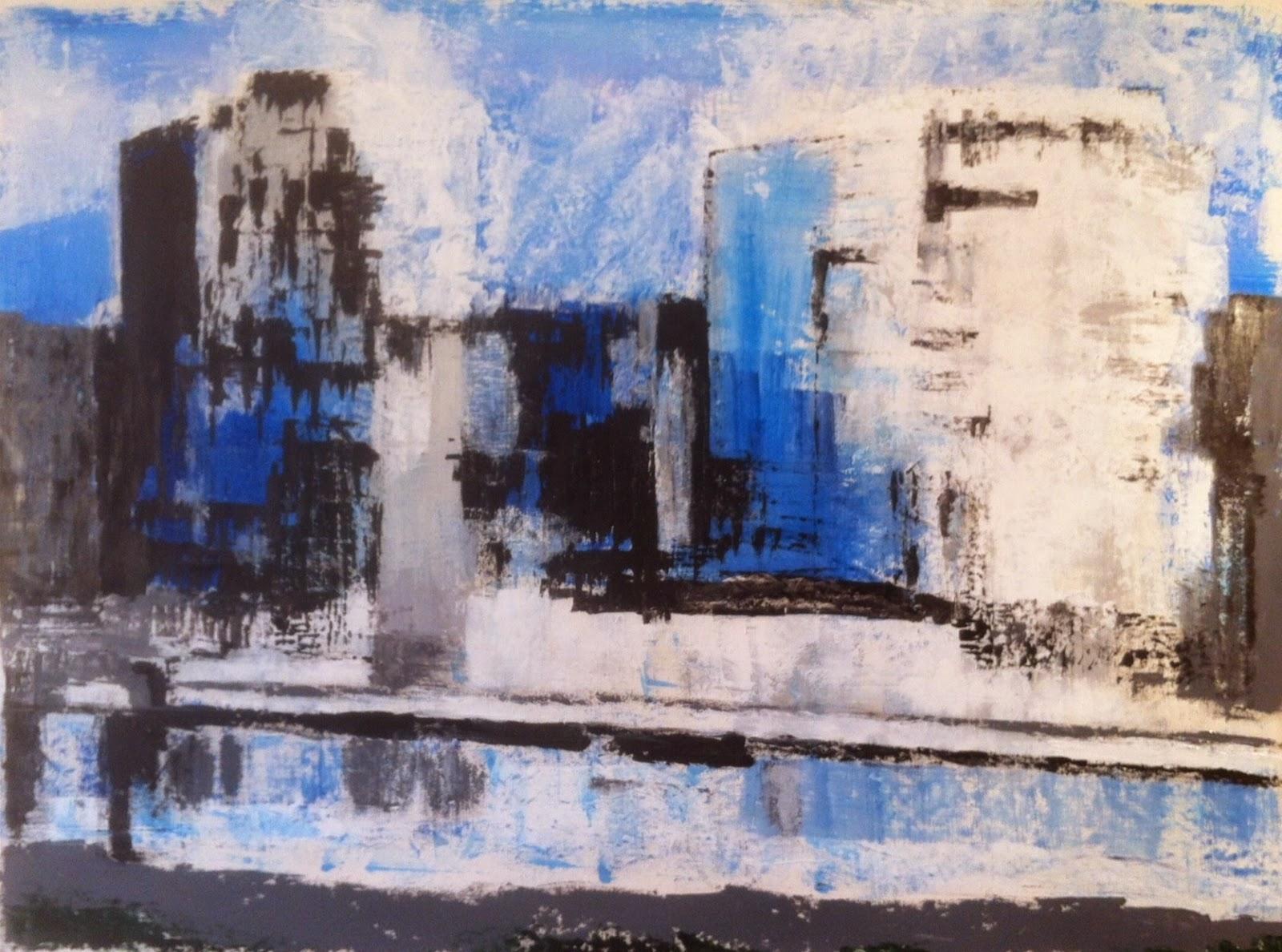 N°1645 - Ville bleue - Acrylique sur toile - 97 x 130 cm - 31 octobre 2014