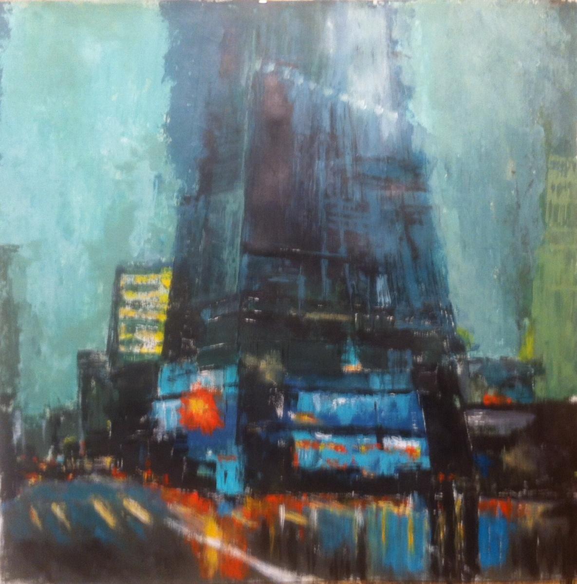 N°1744 - NY avenue - Acrylique sur papier - 65 x 65 cm - 11 janvier 2015