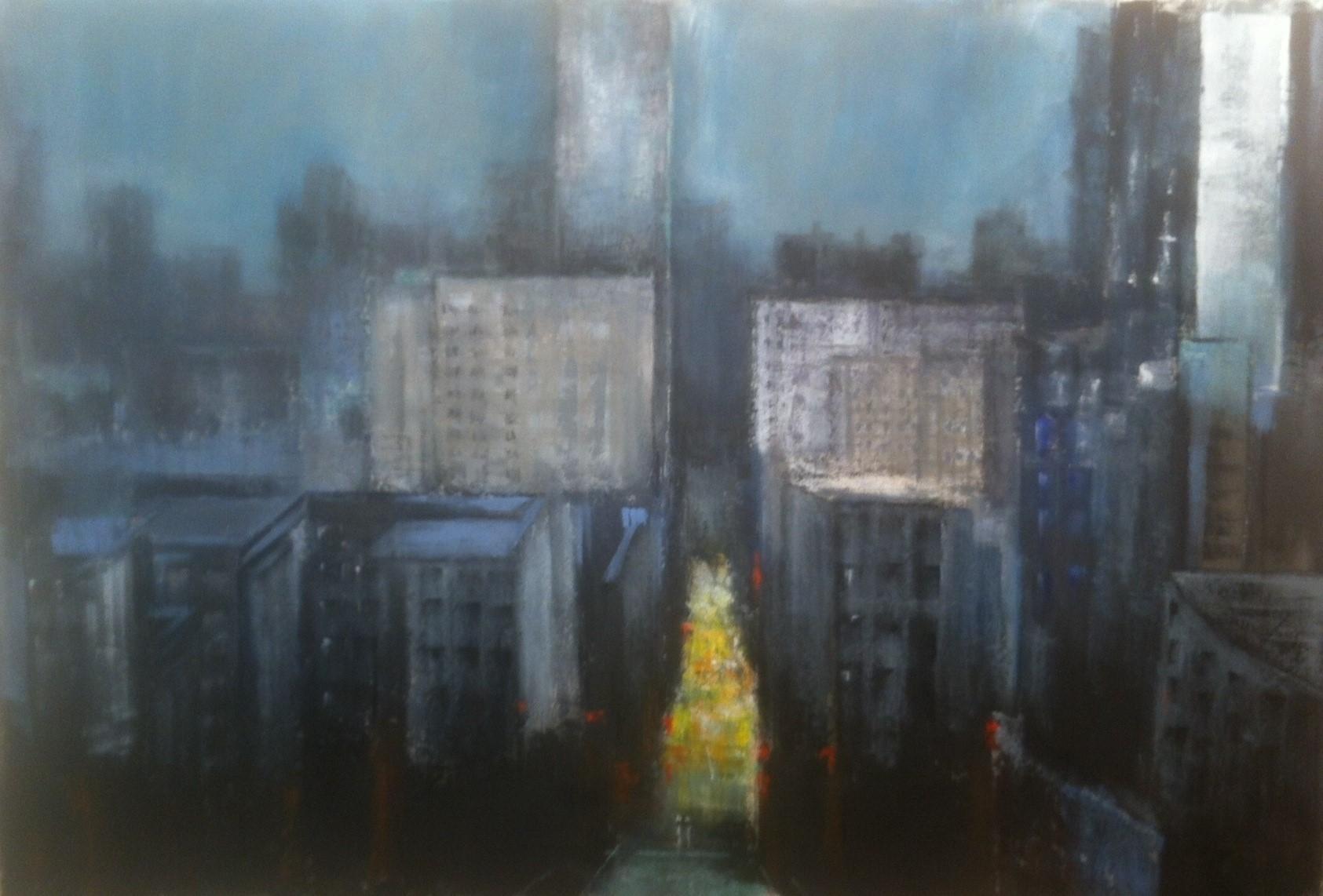 N°1906 - Ville verticale - Acrylique sur toile - 130 x 195 cm - 19 mai 2015