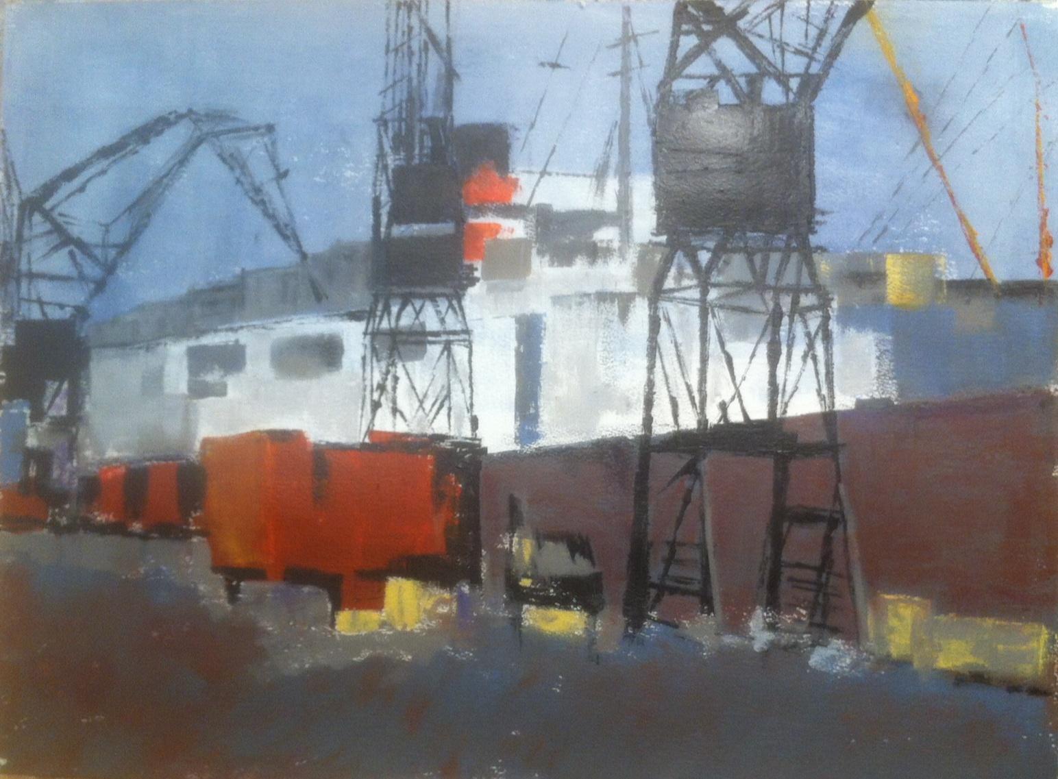 N°1915 - Docks - Acrylique sur papier - 57 x 76 cm - 27 mai 2015