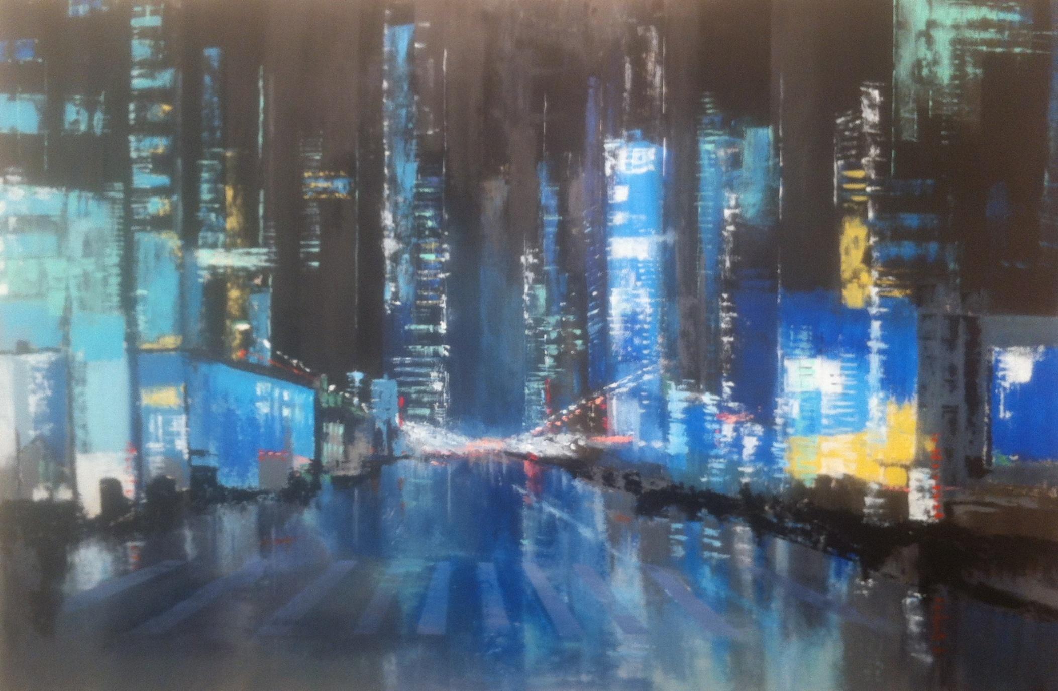 N°1924 - Nuit sur la ville - Acrylique sur toile - 130 x 195 cm - 2 juin 2015