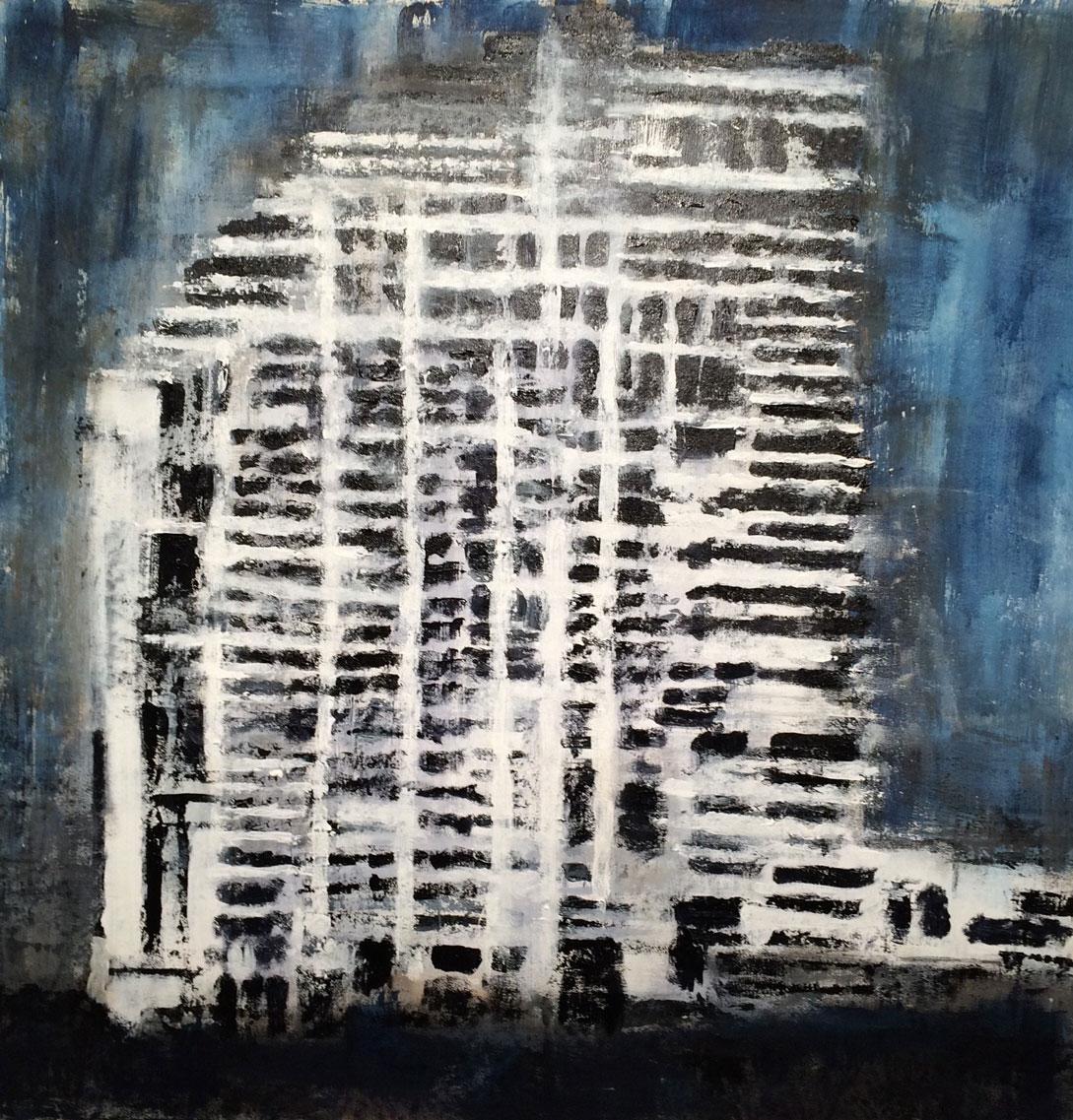 N°1933 - Tour - Acrylique sur toile - 95 x 95 cm - 31 juillet 2015