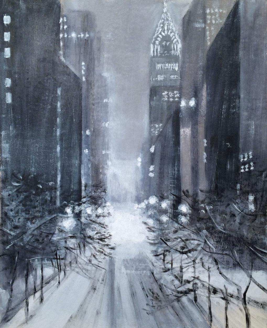 N°2149 - Snowzilla in NYC - Acrylique sur toile - 92 x 73 cm - 29 janvier 2016