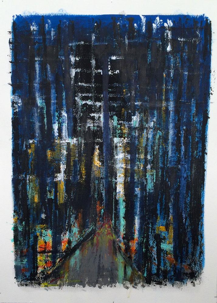 N°2500 - Les lumières de la ville - Acrylique sur papier - 76 x 56 cm - 25 mai 2016