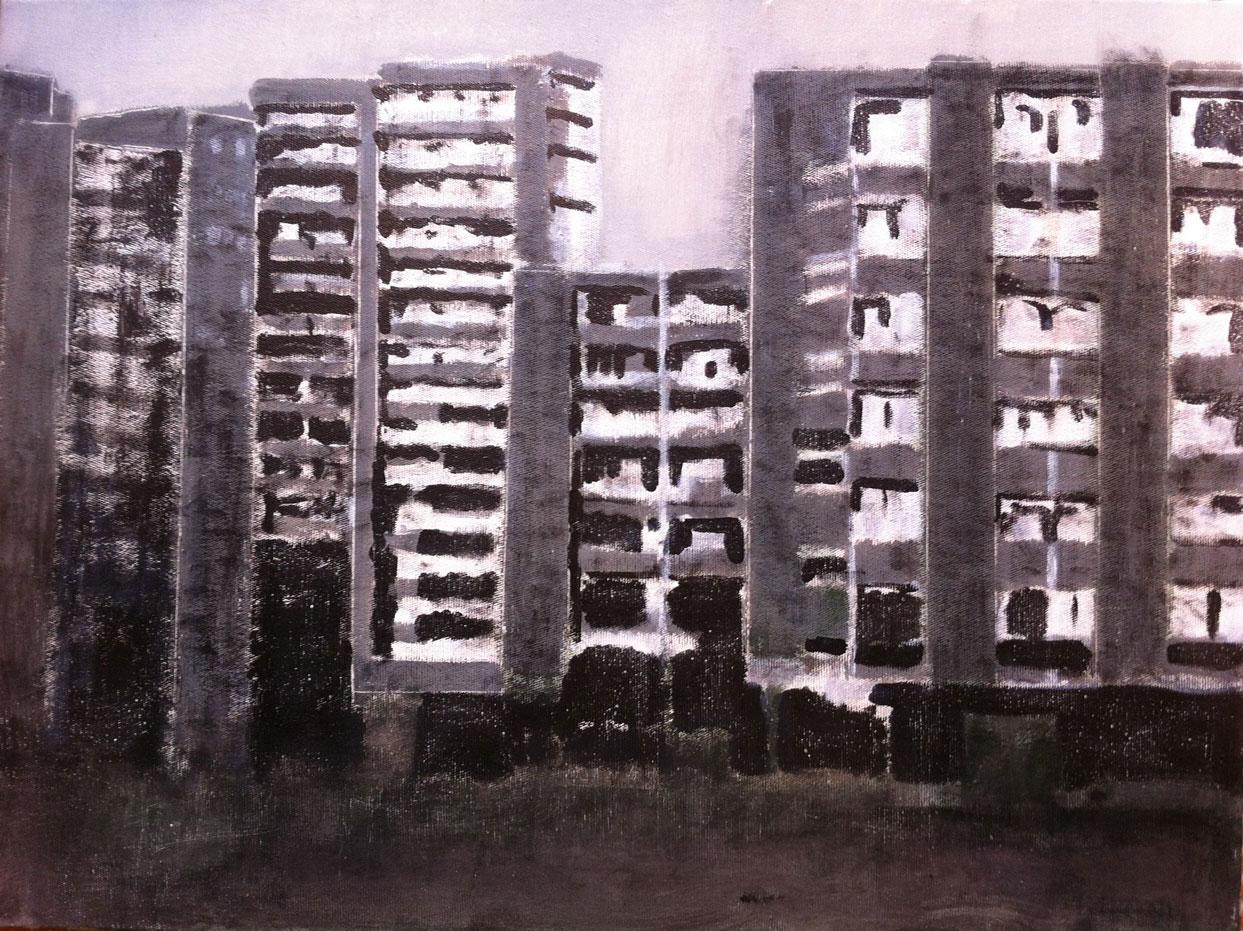 N°421 - Cité interdite - Acrylique sur toile - 60 x 81 cm - 30 avril 2013