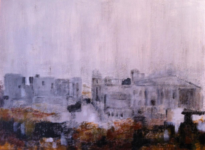 N°466 - Ville anonyme - Acrylique sur toile - 60 x 81 cm - 23 mai 2013
