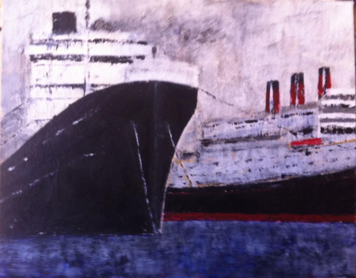 N°592 - Sur les quais - Acrylique sur toile - 65 x 81 cm - 12 août 2013
